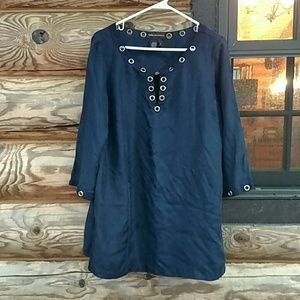 Navy blue tunic top.  Size L. Gold grommet details